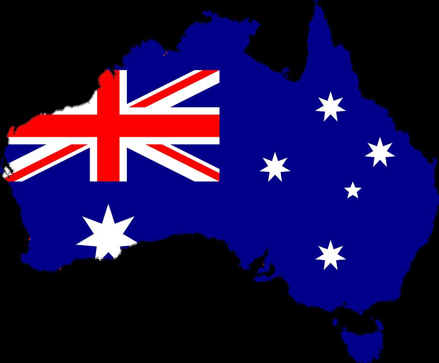 A map-flag of Australia