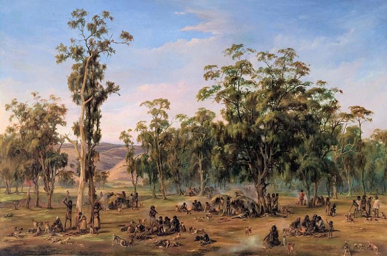 Alexander_Schramm_-_An_Aboriginal_encampment,_near_the_Adelaide_foothills_-_Google_Art_Project