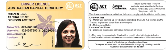 Driving Licence under the Australian Capital Territory.