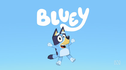 Image of the Bluey cartoon with blue background.