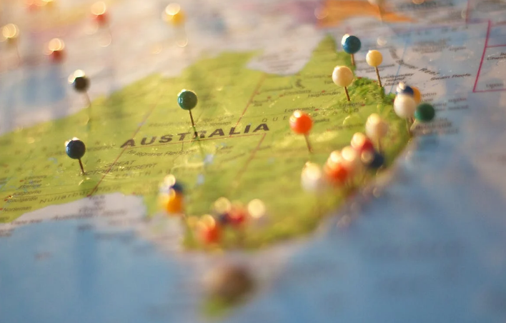 a map with pins showing Australia