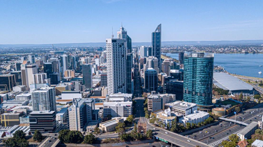 an aerial shot of Perth