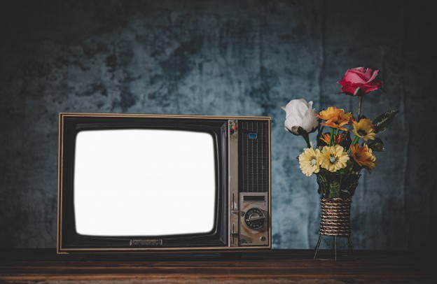 old retro television with a flower vase and dark background