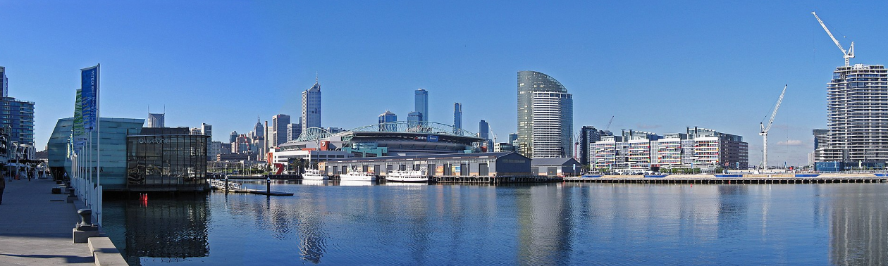 A panoramic view of the Docklands and city skyline from Waterfront City