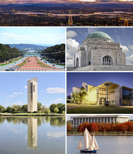 a collage of famous places in Canberra