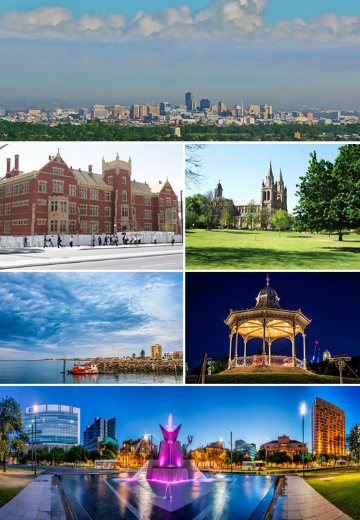 a collage of photographs of different tourist spots in Adelaide, Australia