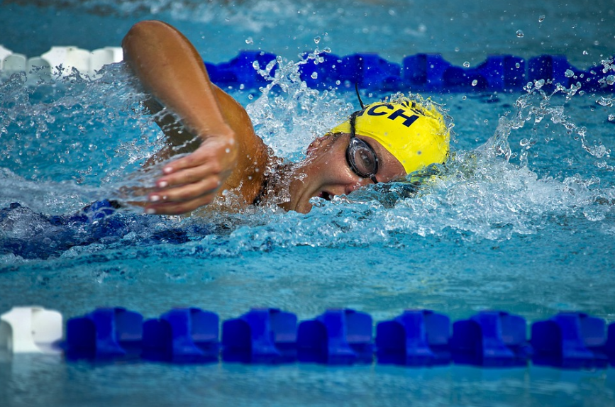 a female swimmer on a race