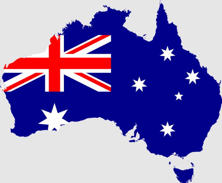 the flag of Australia on a map of Australia