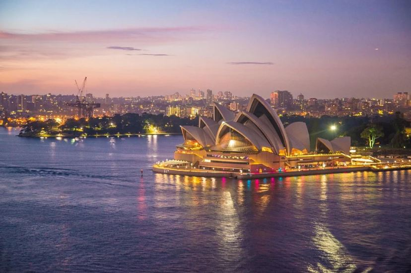 Aerial view of the Sydney's opera house.