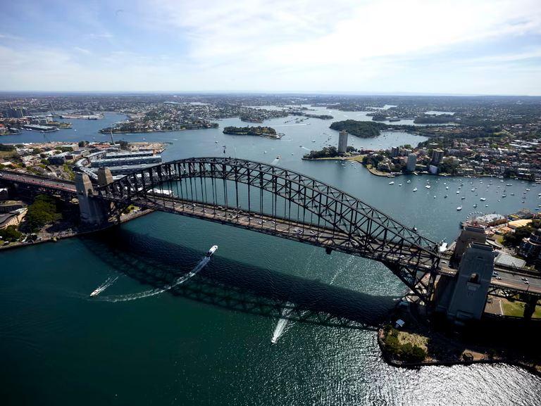 An aerial shot of the Sydney Harbour Bridge